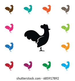 Isolated Cockerel Icon. Hen Vector Element Can Be Used For Cock, Rooster, Bird Design Concept.