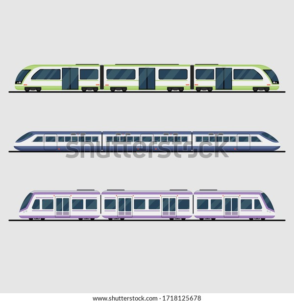 Isolated collection set of train. Have bullet train and express. Vector from illustrator program.