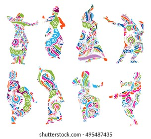 Isolated color silhouettes of indian dancers in mehndi style. Vector stock illustration for design on white background