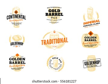 Isolated colored beer hop logo set with continental expert lager bier imperial cerveza clara golden barrel and other descriptions vector illustration