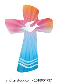 Isolated colored Christian baptism cross with waves and water dove