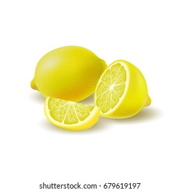 Isolated colored group of lemons, half, slice and whole juicy fruit with shadow on white background. Realistic citrus.