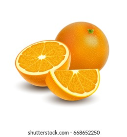 Isolated colored group of orange, slice, half and whole juicy fruit with shadow on white background. Realistic citrus.