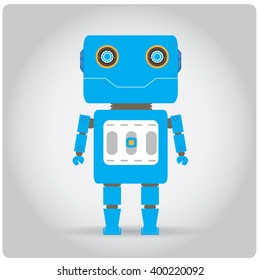 Isolated colored robot toy on a white background