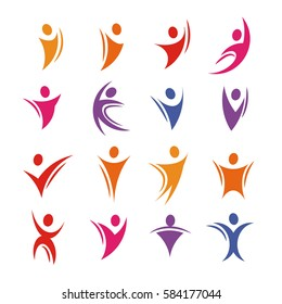 Isolated colorful abstract human body silhouette logos set vector illustration