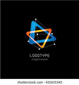 Isolated colorful abstract vector logo. Geometric triangular shape.