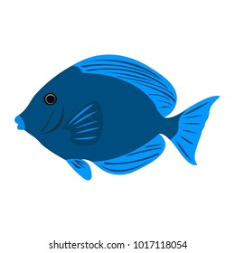 """Isolated colorful """"Atlantic Blue Tang"""" fish (or Blue Doctorfish, Acanthurus Coeruleus) cartoon - Eps10 vector graphics and illustration"""