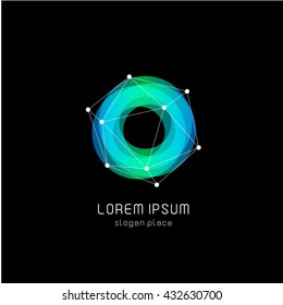 Isolated colorful circular shape vector logo. Sweet blue donut image.