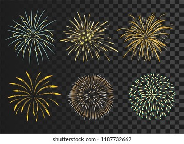 isolated colorful firework set bursting in vector illustration. concept for template for celebration in new year and Christmas festive. It also can use for fourth of July and carnival firework event.