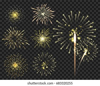 Isolated colorful fireworks bursting in vector illustration. for new year and Christmas party or greeting card
