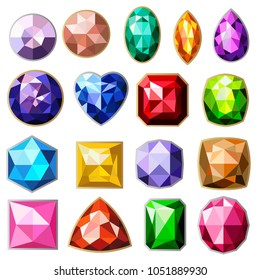 Isolated colorful gemstones of different types set