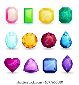 Isolated colorful gemstones of different types set. Ruby, emerald, sapphire and other jewelry. For jewelery design.