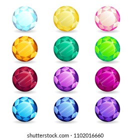 Isolated colorful gemstones of round shape set. Vector illustration for jewelry design.