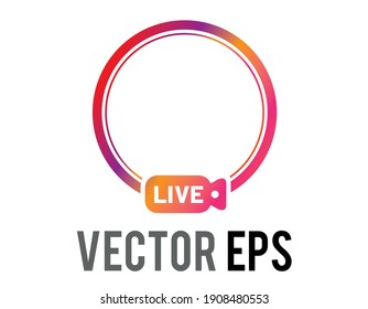 The isolated colorful gradient social media avatar live circle border icon