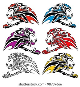 Isolated colorful lion symbols - vector