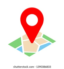 Isolated colorful location mark icon for web, mobile app. Map with point symbol in flat style. Vector illustration.