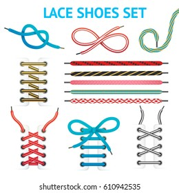 Isolated colorful shoelace icon set with different styles and colors for different types of shoes vector illustration