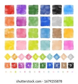 Isolated colorful squares and diamonds with watercolor texture, graphic elements