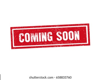 Isolated COMING SOON red stamp seal text message on white background