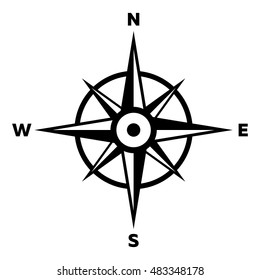 Isolated Compass in Black and White