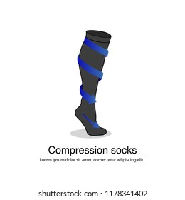 Isolated compression socks vector infographic illustration with blue arrows