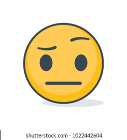 Isolated confused emoticon