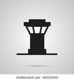 Isolated Control Tower Icon Symbol On Clean Background. Vector Air Traffic Controller Element In Trendy Style.