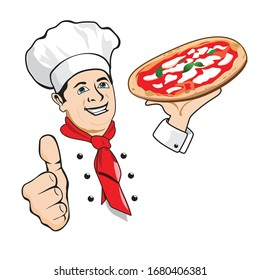 isolated cook with happy expression, pizza and  red scarf and white hat. hand with thumb making like