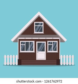 Isolated country farm brick house with fence and plastic white windows in flat cartoon style. Vector illustration. Vector illustration of a-frame cabin detailed house icon isolated on blue background.