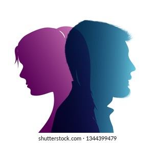 Isolated couple colored silhouette. Divorce concept. End of the wedding. Separation between groom and bride. Divorced man and woman