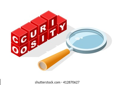 """Isolated Creative Red Block Word """" Curiosity """" on White Background. Construction Concept. Vector Illustration."""