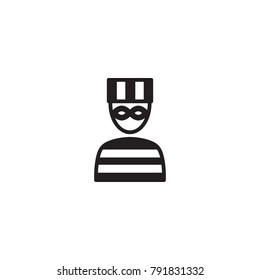 Isolated Criminal Icon Symbol On Clean Background. Vector Prisoner Element In Trendy Style.