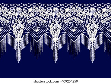 Isolated crocheted lace border with an openwork pattern. Vector illustration