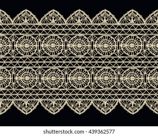 Isolated crocheted lace border with an openwork pattern. Vector illustration. Glamour, modern, fashionable pattern.