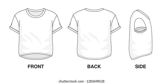 Isolated Crop Top t-shirt with object of clothes and fashion stylish wear fill in blank shirt. Regular Tee Crew Neck Sleeves Cropped Illustration Vector Template. Front, back and side view