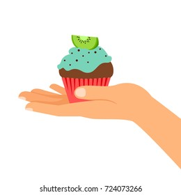 Isolated cupcake with kiwi, gifts vector illustration. Hand holding cupcake