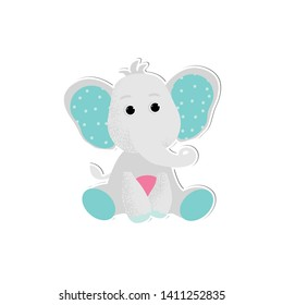 Isolated cute Baby elephant vector in cartoon style. Little funny animal kid. Simple object for baby shower card, birthday card background. Vector Illustration