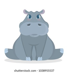 Isolated cute baby hippo on white background.