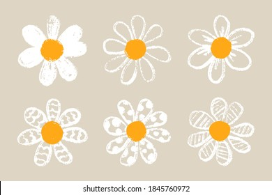Isolated cute daisy flower set. Hand draw chamomile head. Yellow white floral marquerite in simple flat style. Vector printable Illustration
