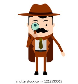Isolated cute detective cartoon character. Vector illustration design