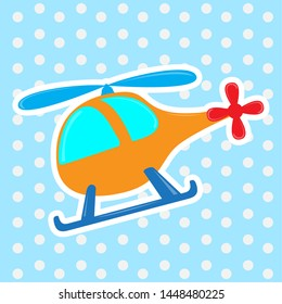 Isolated cute helicopter toy over a textured background - Vector
