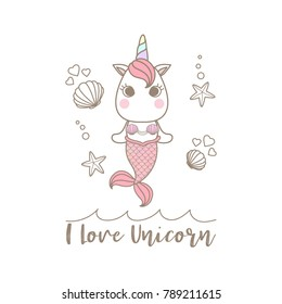 "Isolated cute little unicorn mermaid decorated with shell and starfish on sea surface and text ""I Love Unicorn""."