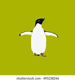 Isolated cute penguin on a yellow background, Vector illustration