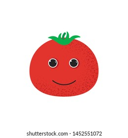 Isolated cute smile tomato character. Cartoon red vegetable. Vector Illustration. Emoji. Smiley face