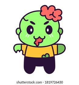 Isolated cute zombie kawaii. Halloween icon - Vector