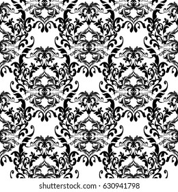 Isolated Damask seamless pattern. Floral white  vector  background wallpaper illustration with vintage black  flowers, swirl scroll leaves  and antique medieval Baroque    ornaments in Victorian style