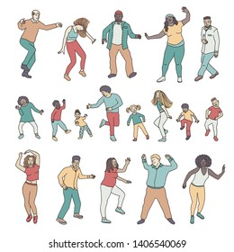 Isolated dancing people, children and adults