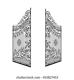 Isolated Decorated Steel Open Gates Vector Illustration.  Black and White