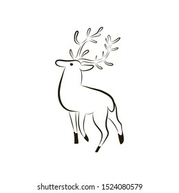 Isolated deer silhouette. Deer on white background close-up. Hand drawing character deer. Symbol of wisdom, abundance, happiness. Vector illustration. EPS 10. Minimalism style. Vector graphic animal