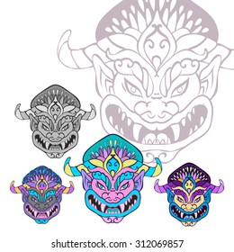 isolated demon mask with twisted horns and angry grin. Talisman against evil spirits.